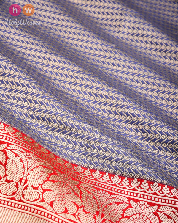 Slate Gray Banarasi Kadhuan Brocade Handwoven Katan Silk Saree with Geometric Waves- HolyWeaves