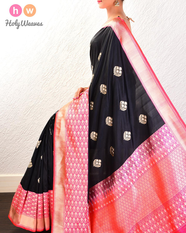 Black Banarasi Alfi Sona-Rupa Kadhuan Brocade Handwoven Katan Silk Saree with Kadiyal Brocade Border - HolyWeaves