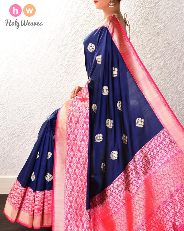 Navy Blue Banarasi Alfi Sona-Rupa Kadhuan Brocade Handwoven Katan Silk Saree with Pink Kadiyal Brocade Border - HolyWeaves