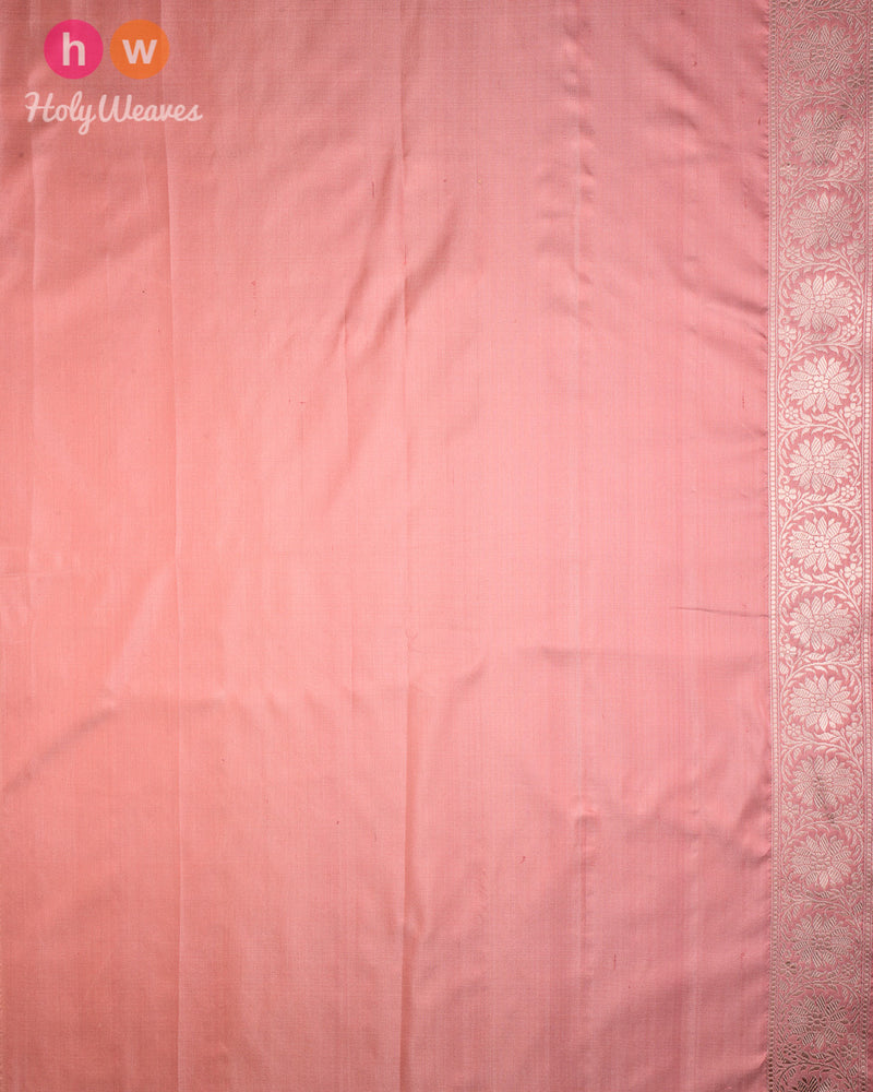Tuscany Peach Banarasi Kadhuan Brocade Handwoven Katan Silk Saree with Tanchoi Brocade Border- HolyWeaves