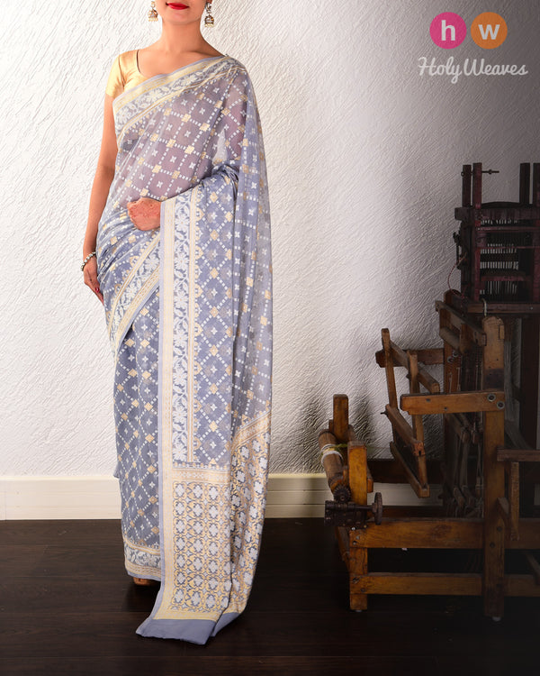Gray Banarasi Alfi Jangla Buti Cutwork Brocade Woven Cotton Silk Saree