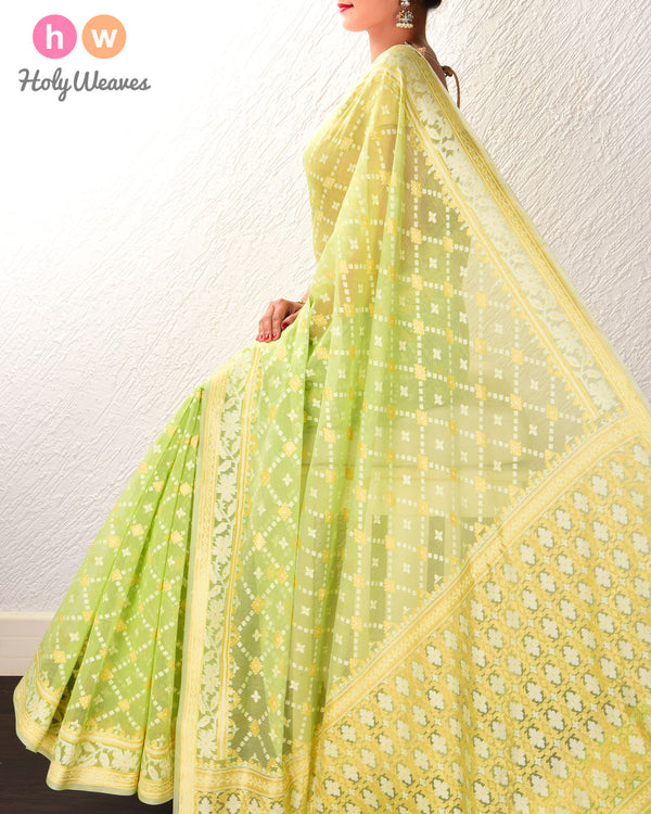 Green Banarasi Alfi Jangla Buti Cutwork Brocade Woven Cotton Silk Saree