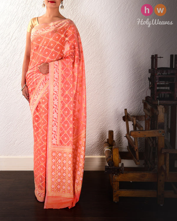 Salmon Pink Banarasi Alfi Jangla Buti Cutwork Brocade Woven Cotton Silk Saree - HolyWeaves