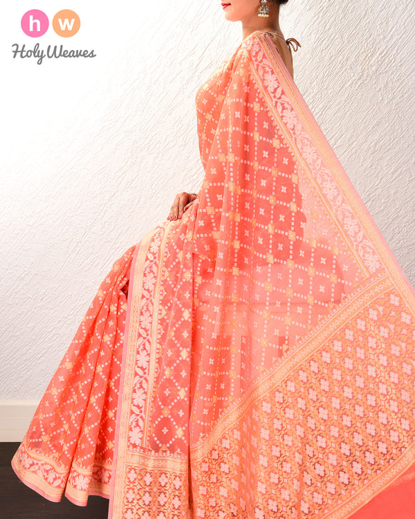 Salmon Pink Banarasi Alfi Jangla Buti Cutwork Brocade Woven Cotton Silk Saree