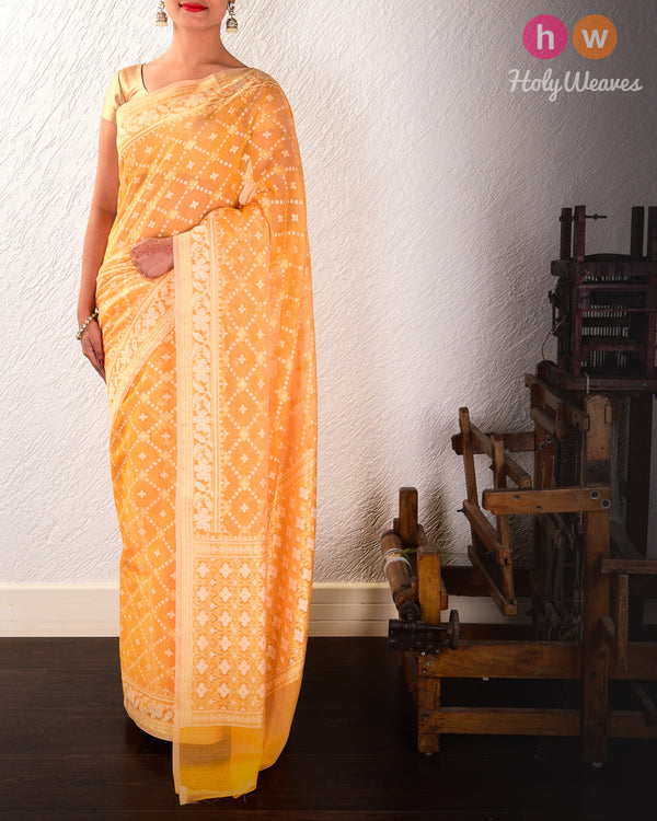 Orange Banarasi Alfi Jangla Buti Cutwork Brocade Woven Cotton Silk Saree
