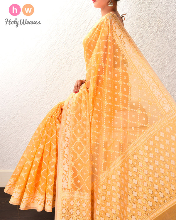 Orange Banarasi Alfi Jangla Buti Cutwork Brocade Woven Cotton Silk Saree - HolyWeaves