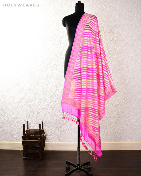 Shaded Pink Banarasi Shaded Leheriya Hand-Brush Dye Cutwork Brocade Handwoven Khaddi Georgette Dupatta