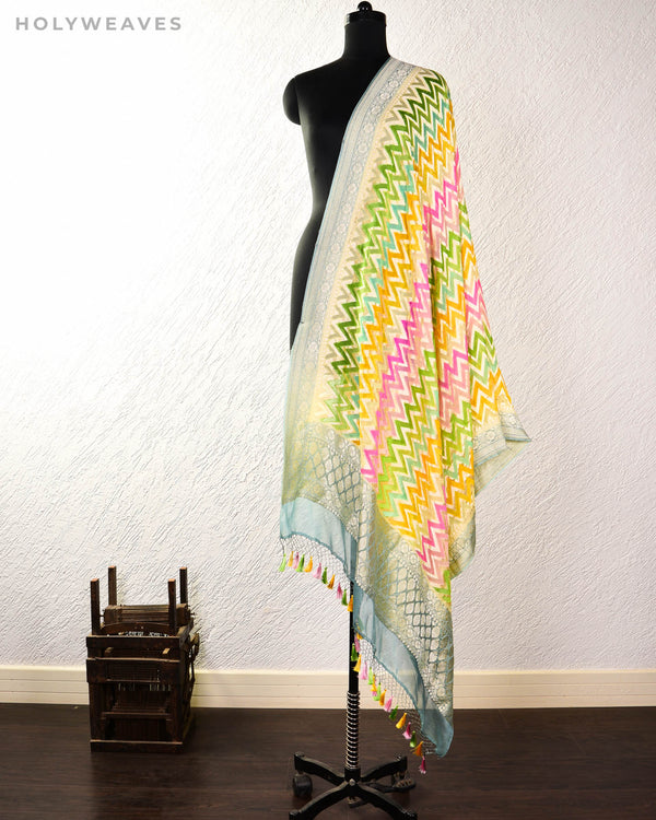 Multi-color Banarasi Chevron Zig-Zag Hand-Brush Dye Cutwork Brocade Handwoven Khaddi Georgette Dupatta