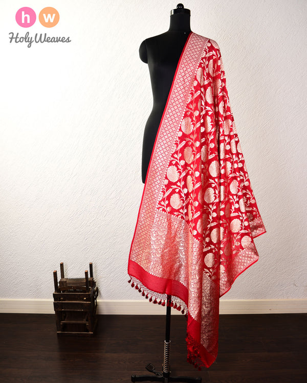 Red Floral Jaal Cutwork Brocade Handwoven Muga Silk Dupatta - HolyWeaves