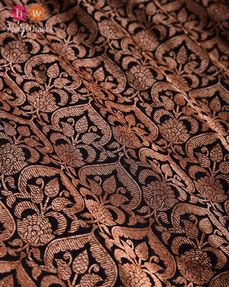 Black Banarasi Antique Zari Brocade Handwoven Katan Silk Fabric - HolyWeaves
