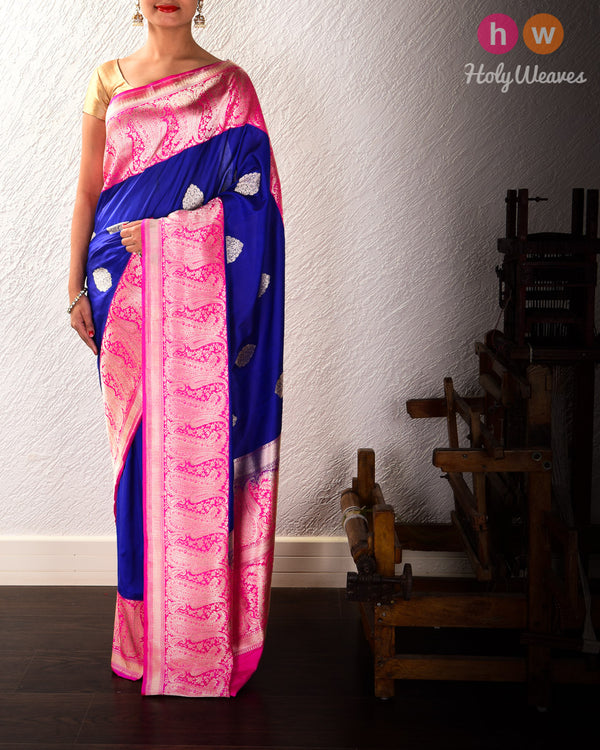 Royal Blue Banarasi Kadhuan Brocade Handwoven Katan Silk Saree - HolyWeaves