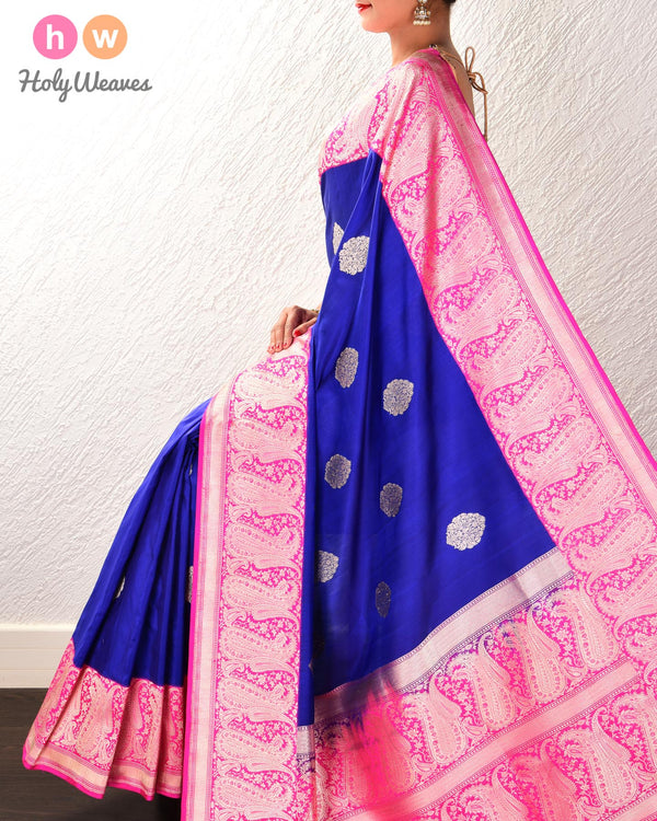 Royal Blue Banarasi Kadhuan Brocade Handwoven Katan Silk Saree