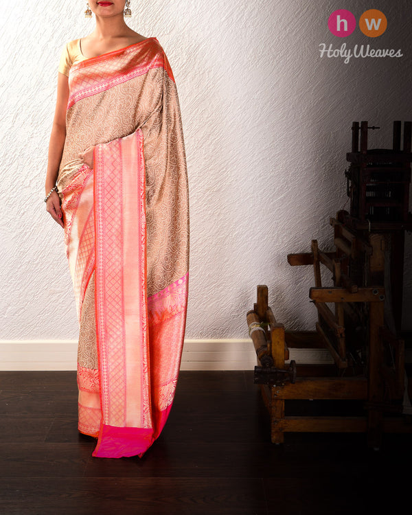 Beige Banarasi Antique Zari Brocade Handwoven Katan Silk Saree - HolyWeaves