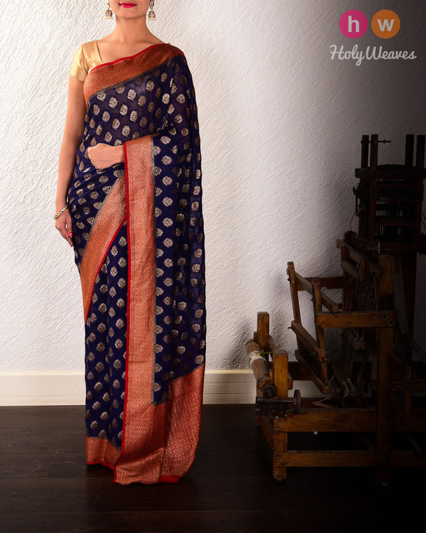 Navy Blue Banarasi Antique Zari Cutwork Brocade Handwoven Khaddi Georgette Saree - HolyWeaves