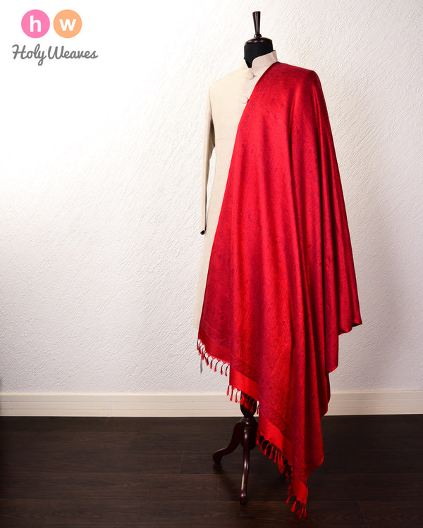 Red Banarasi Jamawar Handwoven Silk Wool Shawl