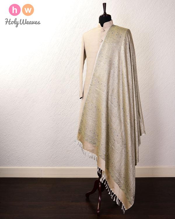 Cream Banarasi Jamawar Handwoven Silk Wool Shawl