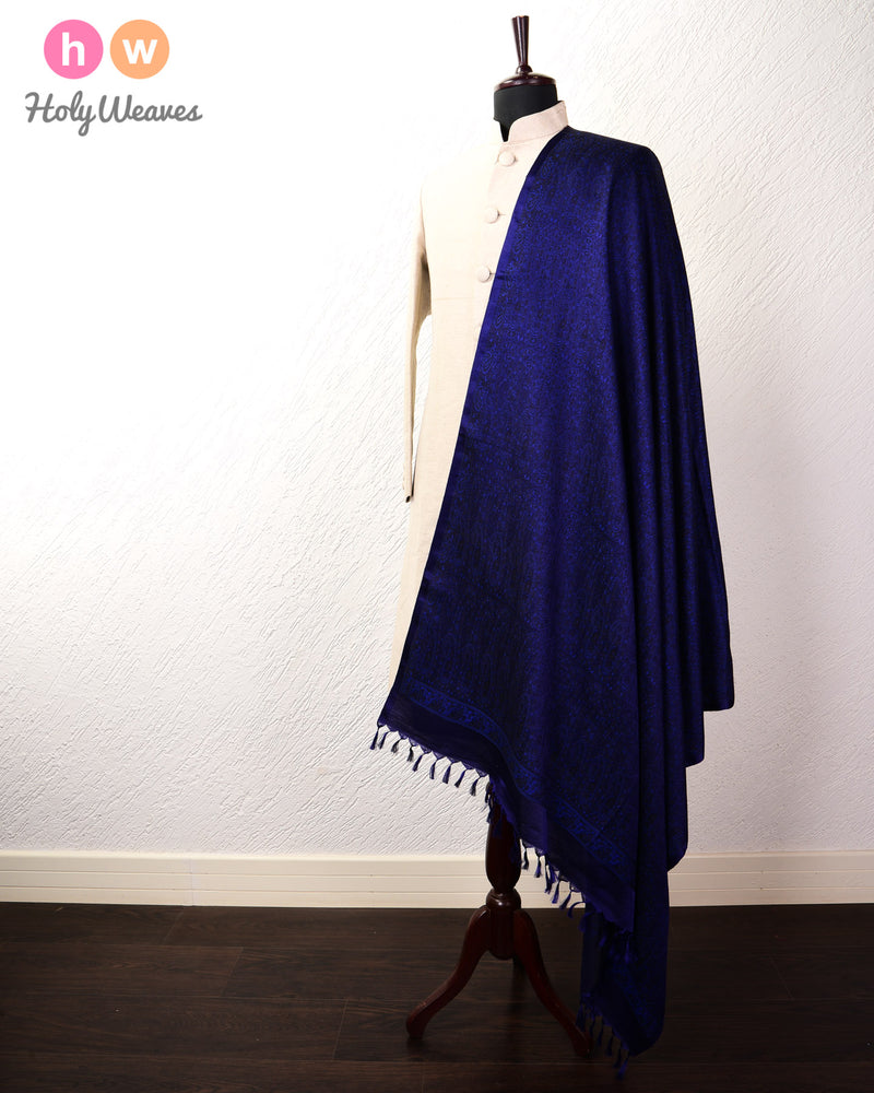 Navy Blue Banarasi Jamawar Handwoven Silk Wool Shawl