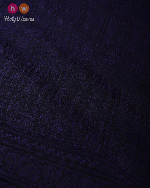 Purple Banarasi Jamawar Handwoven Silk Wool Dupatta Shawl - HolyWeaves