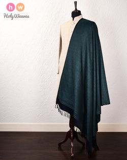 Midnight Green Banarasi Jamawar Handwoven Silk Wool Dupatta Shawl