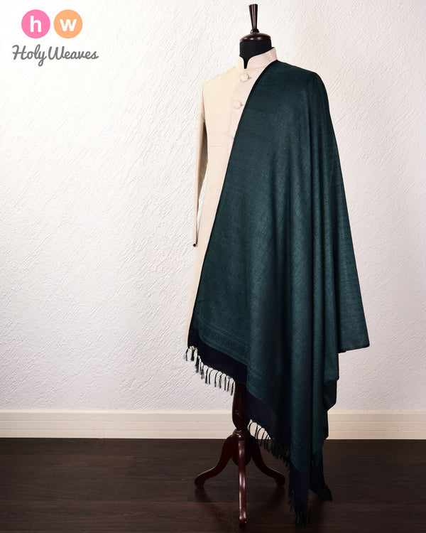 Midnight Green Banarasi Jamawar Handwoven Silk Wool Dupatta Shawl - HolyWeaves
