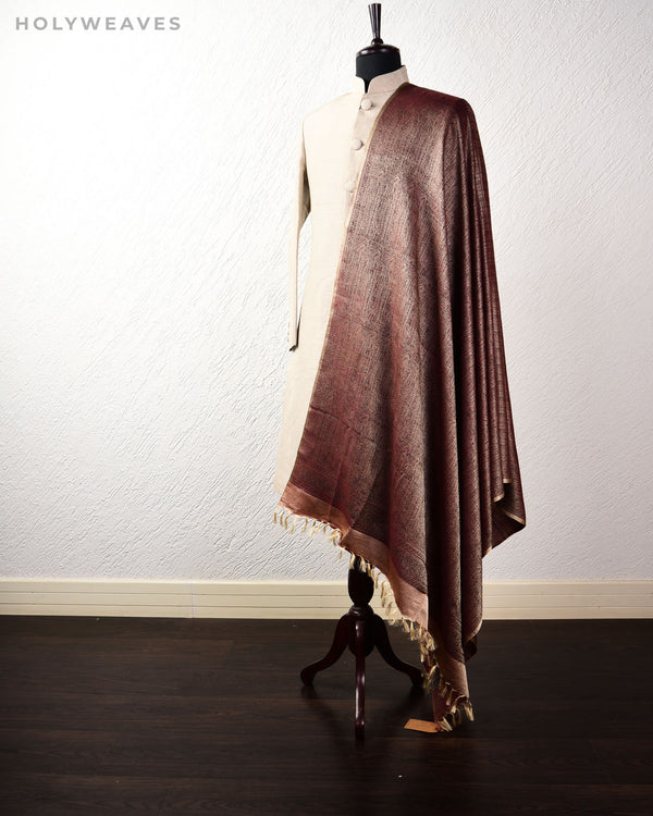 Redwood Banarasi Jamawar Handwoven Silk Wool Shawl