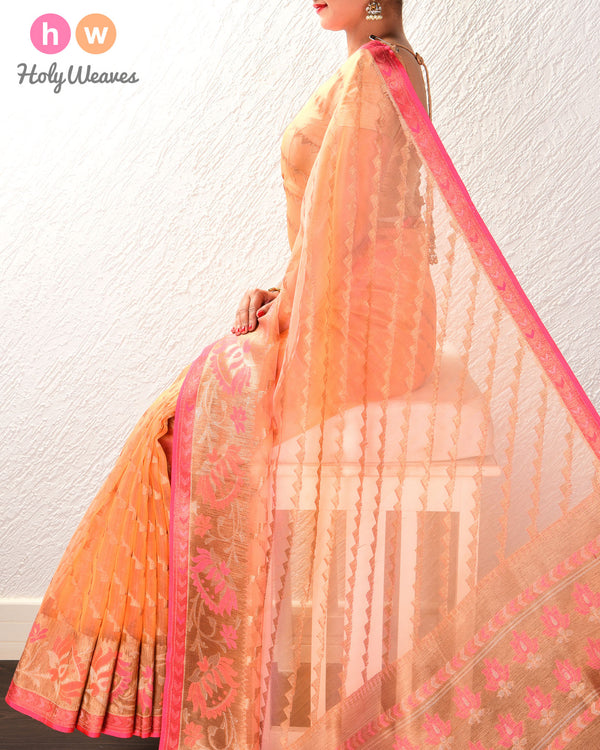 Peach Banarasi Tilfi Cutwork Brocade Handwoven Kora Silk Saree - HolyWeaves