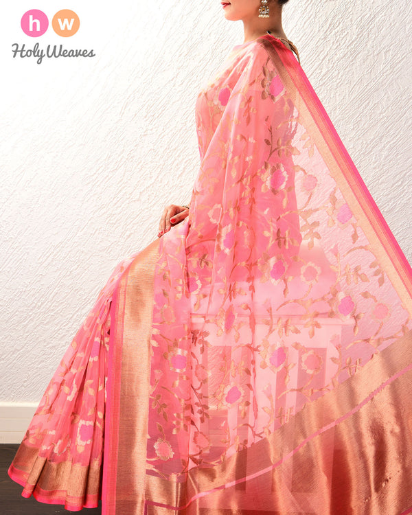 Light Coral Pink Banarasi Tilfi Cutwork Brocade Handwoven Kora Silk Saree
