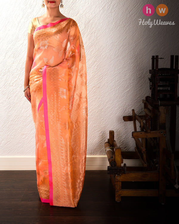 Peach-Orange Banarasi Tilfi Cutwork Brocade Handwoven Kora Silk Saree - HolyWeaves