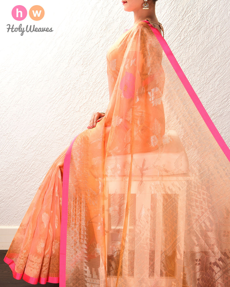 Peach-Orange Banarasi Tilfi Cutwork Brocade Handwoven Kora Silk Saree