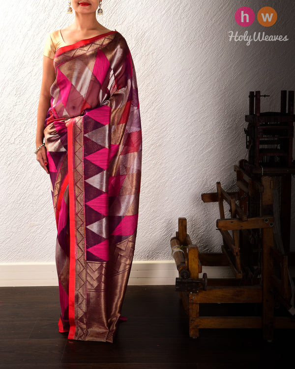 Purple Banarasi Tilfi Cutwork Brocade Handwoven Kora Silk Saree - HolyWeaves