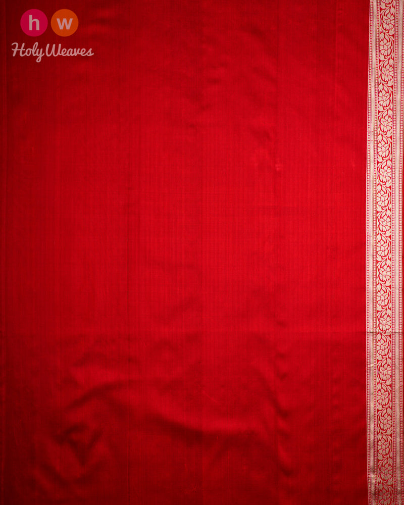 Red Banarasi Alfi Sona-Rupa Cutwork Brocade Handwoven Katan Silk Saree