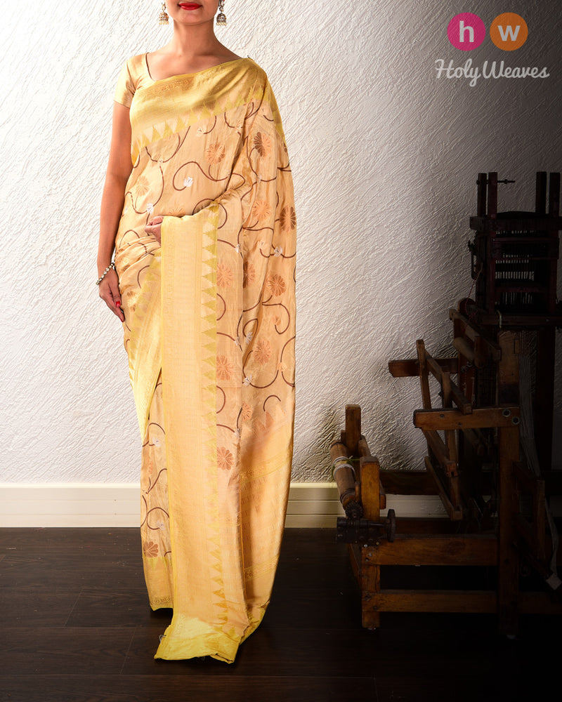 Beige Banarasi Antique Zari Jaal Cutwork Brocade Handwoven Katan Tissue Saree