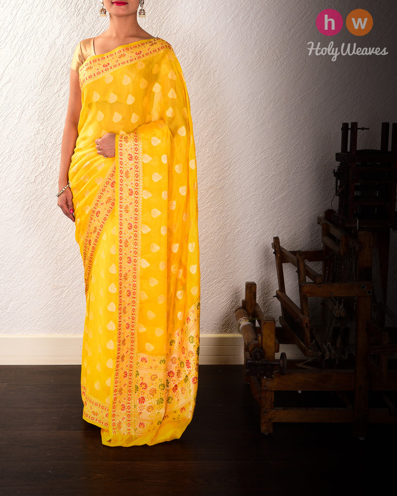 Yellow Banarasi Cutwork Brocade Woven Khaddi Georgette Saree with Meena Border Pallu - HolyWeaves