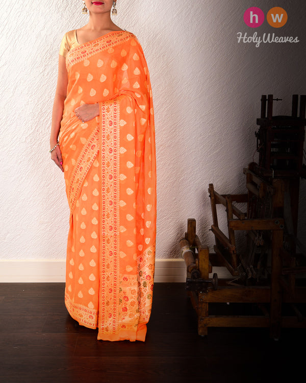 Orange Banarasi Cutwork Brocade Woven Khaddi Georgette Saree with Meena Border Pallu