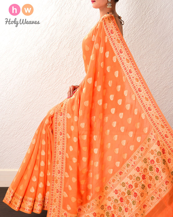Orange Banarasi Cutwork Brocade Woven Khaddi Georgette Saree with Meena Border Pallu - HolyWeaves