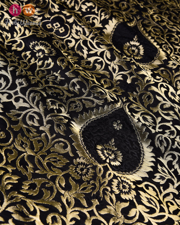 Black Banarasi Alfi Kimkhwab Brocade Handwoven Viscose Silk Fabric