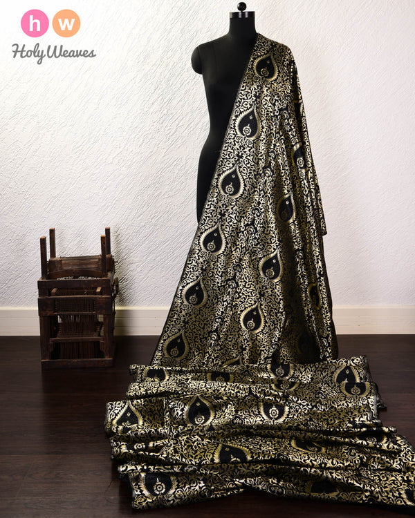 Black Banarasi Alfi Kimkhwab Brocade Handwoven Viscose Silk Fabric - HolyWeaves