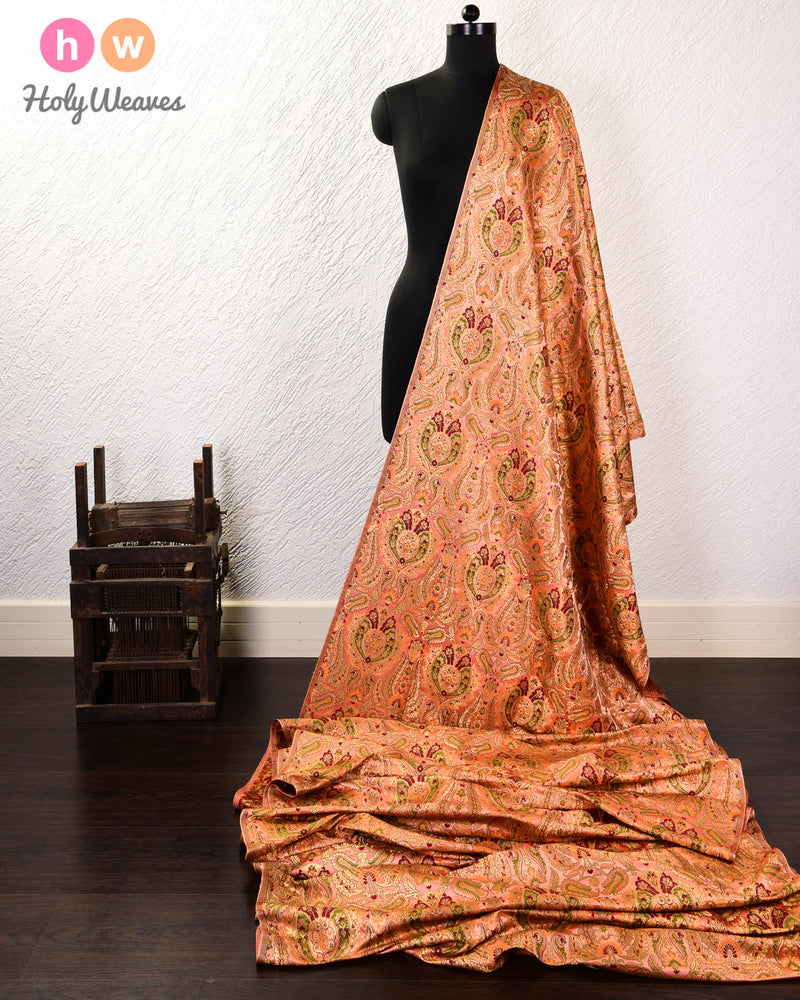 Copper Banarasi Tilfi Kimkhwab Brocade Handwoven Viscose Silk Fabric