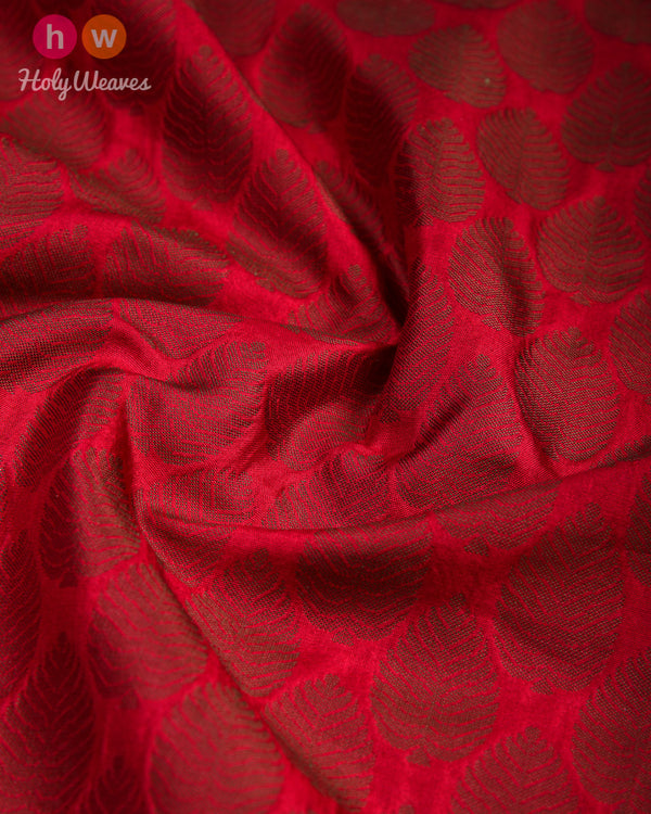 Maroon Leaf Tanchoi Handwoven Silk Pocket Square - HolyWeaves