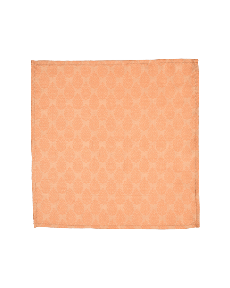 Beige Leaf Tanchoi Handwoven Silk Pocket Square - HolyWeaves
