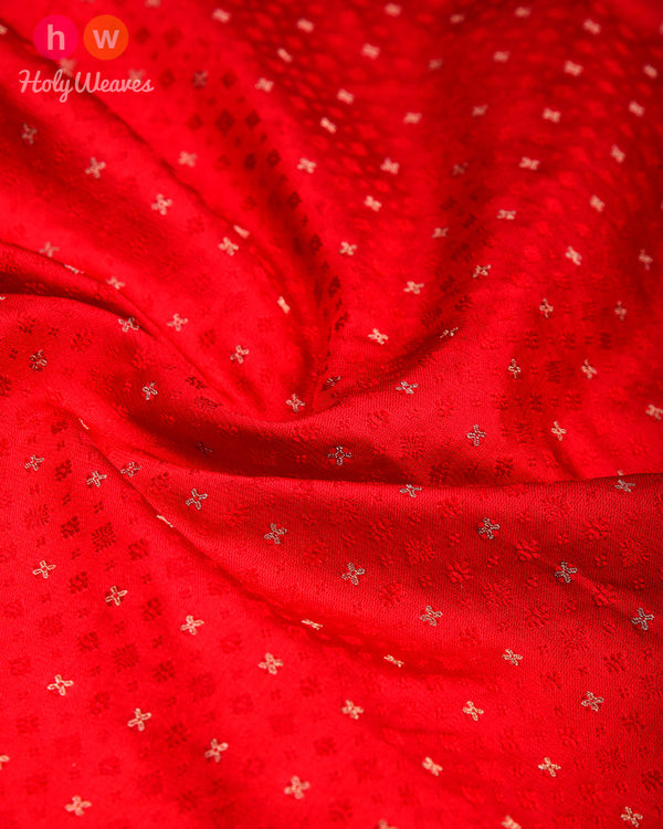Red Tanchoi Brocade Handwoven Silk Pocket Square - HolyWeaves