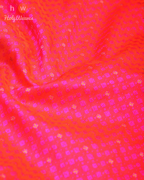 Ruby Pink Tanchoi Brocade Handwoven Silk Pocket Square - HolyWeaves