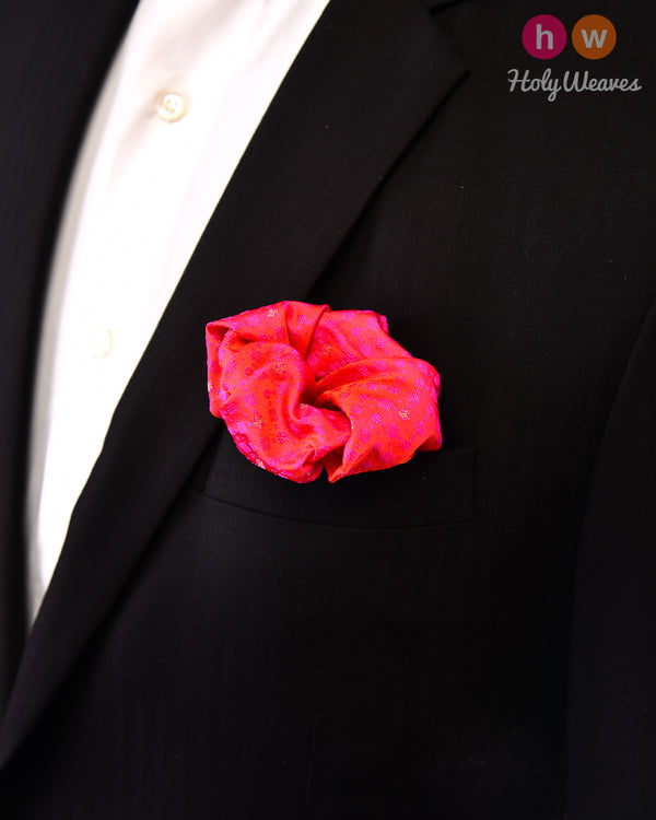 Ruby Pink Tanchoi Brocade Handwoven Silk Pocket Square
