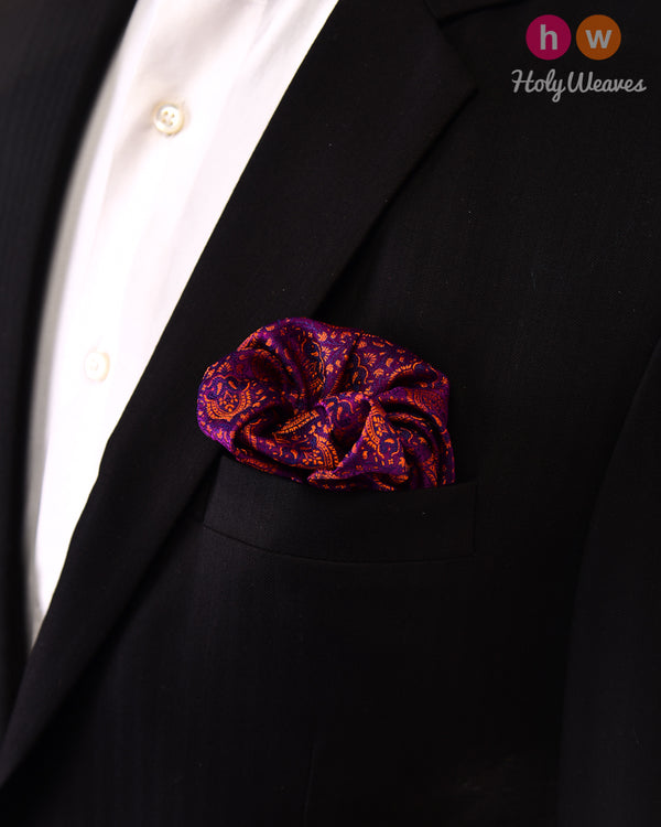 Purple Jamawar Handwoven Silk Pocket Square