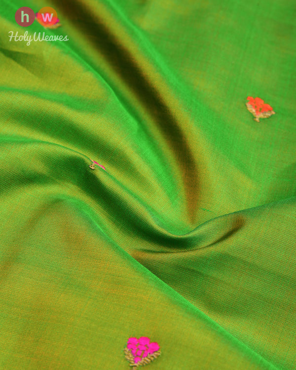 Green Kadhuan Brocade Handwoven Silk Pocket Square - HolyWeaves