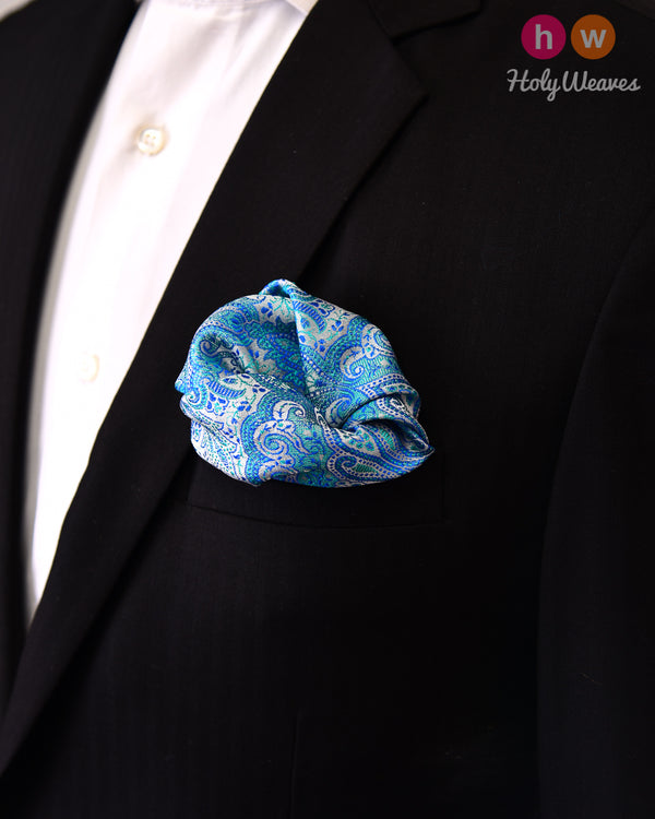 Blue Jamawar Handwoven Silk Pocket Square - HolyWeaves