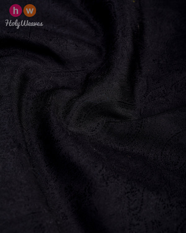 Black Tanchoi Handwoven Silk Pocket Square - HolyWeaves