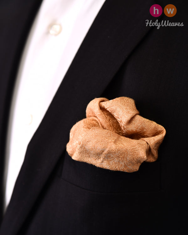 Beige Tanchoi Brocade Handwoven Silk Pocket Square - HolyWeaves