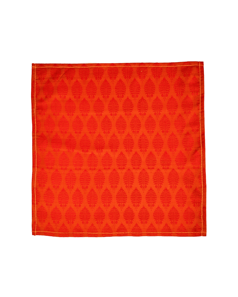 Orange Tanchoi Handwoven Silk Pocket Square - HolyWeaves