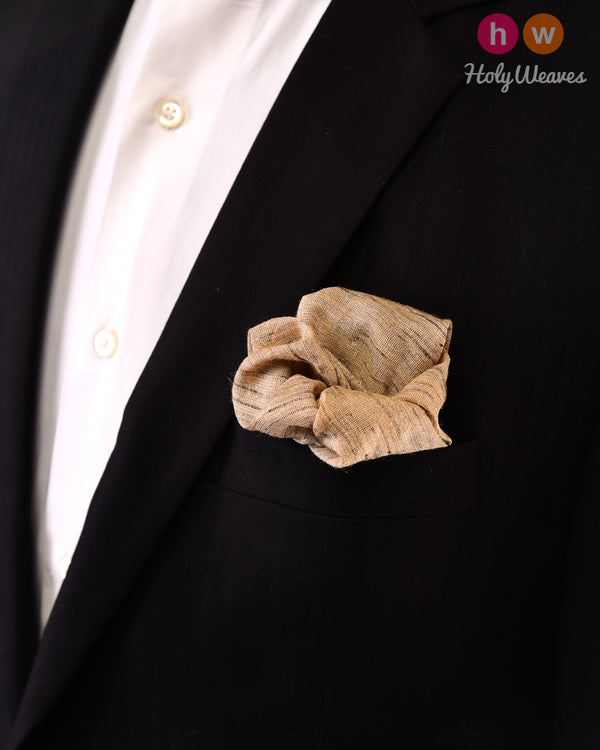 Beige Handwoven Tasar Tissue Pocket Square - HolyWeaves